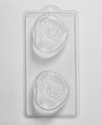 Romantic Heart With Roses Soap Mould 4 Cavity D01 FREE P&P