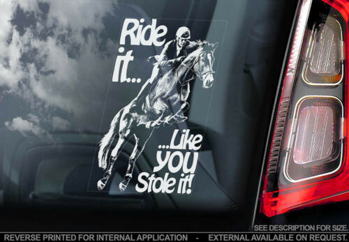 Car Window Sticker Equestrian Decal Sign V02 /'Ride it like you stole it!/'