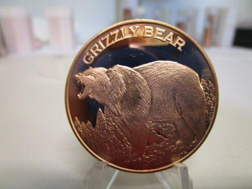 1 OZ .BU.COPPER ROUND GRIZZLY BEAR