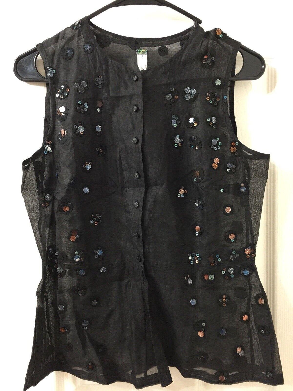 Dosa Cotton Bead Design Blouse Top Sz 1