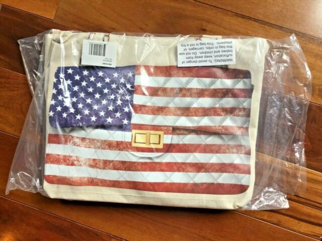 NWT Thursday Friday Canvas Large Tote Purse Beige Shopping Bag American Flag