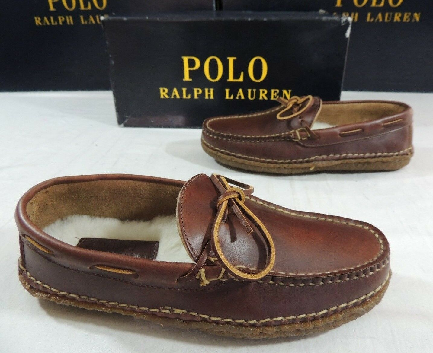 Polo Ralph Lauren Shearling Fur Leather Driver Moccasins USA Winter shoes 8