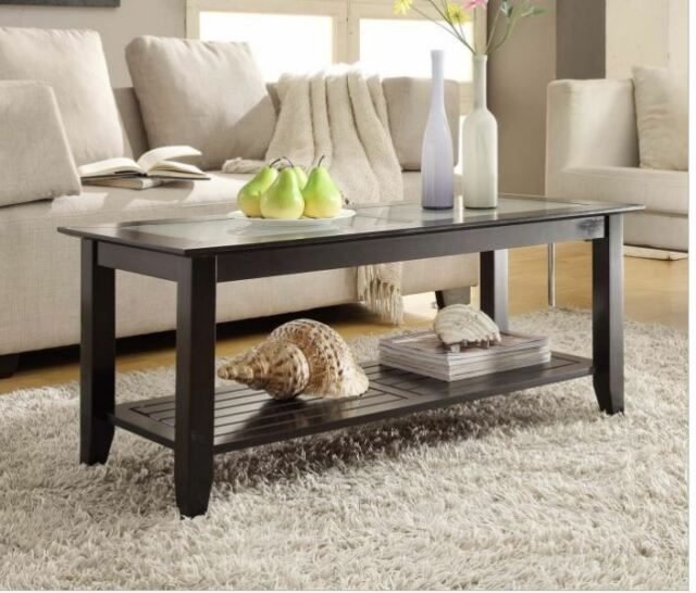 Glass Top Coffee Center Table Living Room Accent Wood Furniture Shelf  Storage