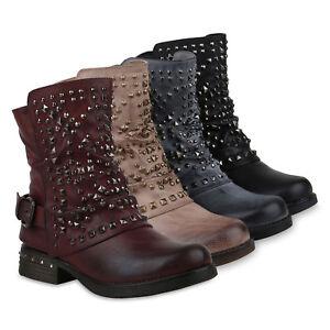 7dcf769100b3 Details zu 892846 Damen Biker Boots Warm Gefütterte Stiefel Nieten  Stiefeletten Schuhe