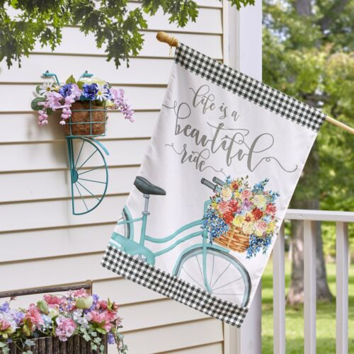 "Spring Decor Life Is a Beautiful Ride 28/"" x 40/"" Double-Sided House Flag"