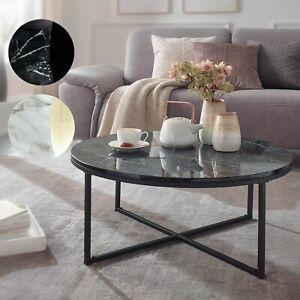 FineBuy Table Basse de Salon Effet Marbré 80x36x80 cm Table Canapé Moderne Ronde