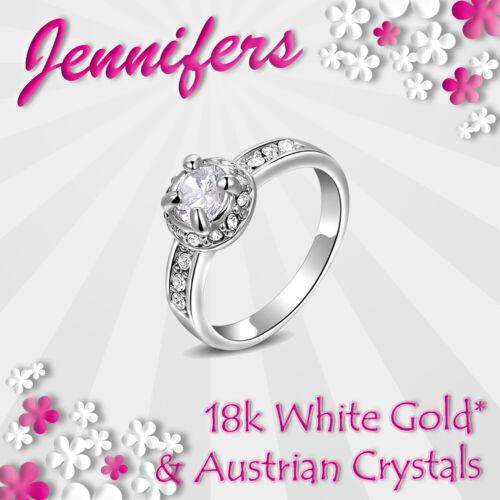 Anillo De Oro Blanco Cristal Art Deco mujeres señoras de moda Cubic Zircon Niñas Nuevo
