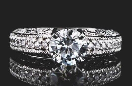 1.35 Ct Moissanite Off White Round Cut Engagement Wedding Ring 9K White gold