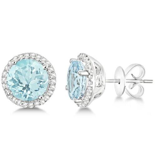 0.80 CT Diamond créé Square Halo Clous D/'Oreilles 14k Blanc Plaqué or Boucles d/'oreilles