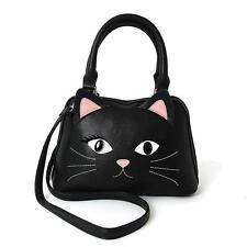 Black Kitty Cat Face Black Satchel Hand Bag Purse Kawaii Goth Alternative Grunge