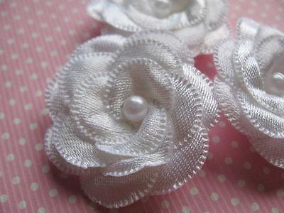 "20 Satin 1.5"" Ribbon Flower Pearl Appliques-White RF095"