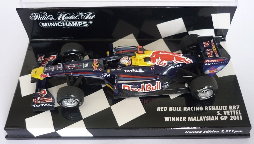 F1 1/43 rosso BULL RB7 RENAULT RENAULT RENAULT VETTEL MALAYSIAN GP 2011 MINICHAMPS 1a8857
