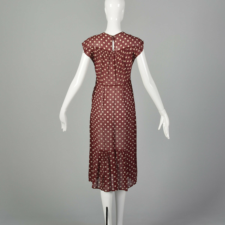 XXS 1930s Red Dress White Polka Dot Sheer Silk Ch… - image 3