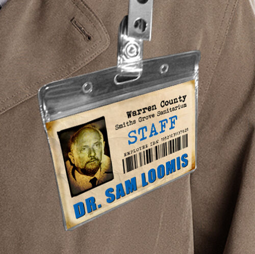 Halloween Michael Myers Mask adult Costume Movie Prop Badge Dr Loomis id card