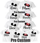 Mom And Dad Family Mickey Minnie Head Disney Birthday Customized WHITE T-Shirts