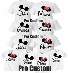 Details About Mom And Dad Family Mickey Minnie Head Disney Birthday Customized WHITE T Shirts