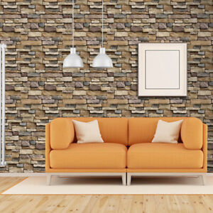 Details About 3d Brick Stone Pvc Self Adhesive Wall Sticker Panel Wallpaper Living Room Decor