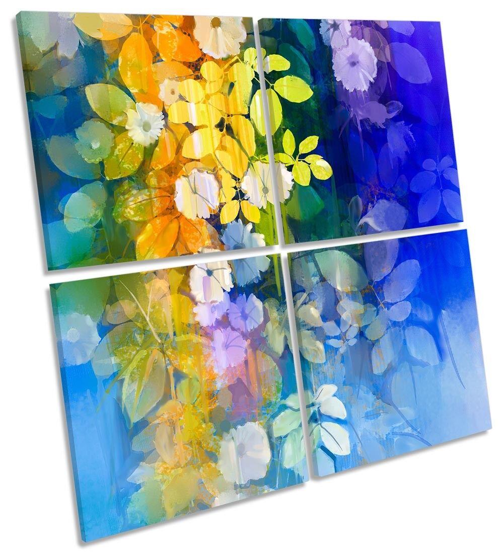 FIORI blu giallo floreale Multi a a a muro opera d'arte art SQUARE f75c27