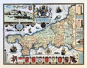 John-Speed-Antique-Map-of-Cornwall-circa-1676-LITHO-PRINT-in-11-special-colours