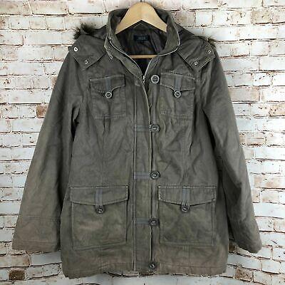 Details about Maine Duffer Toggle Style Parker Coat Fur Hood Khaki Size 12