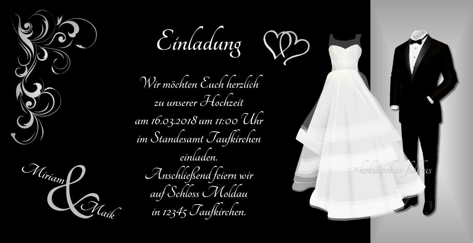 100 Einladungskarten Hochzeit Hochzeit Hochzeit Einladungen schwarz weiß 21 x 10,5 Hochzeitskarten | 2019  | Angemessene Lieferung und pünktliche Lieferung  | Sale Outlet  be2772