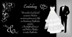 50 Einladungskarten Hochzeit Einladungen Schwarz Weiss 21 X 10 5