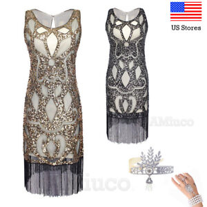bd68e91e Image is loading 1920s-Flapper-Dress-Gatsby-Charleston-Art-Deco-Sequin-