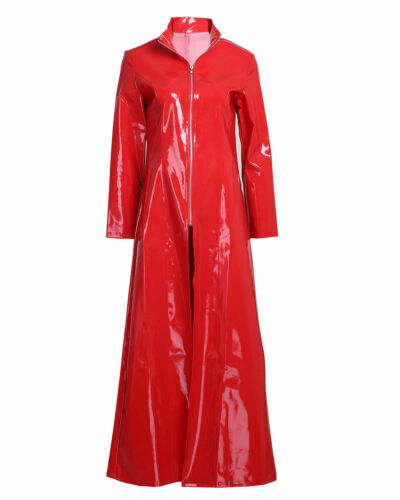 Hot Sell Lady Long Dress Coat Costume PVC Leather WetLook Underwear Jacket Party
