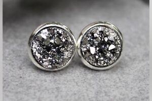 12mm-Sparkly-Round-Faux-Gunmetal-Grey-Druzy-Earrings-Studs