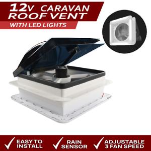 Remote Control 12V Caravan RV Skylight Roof Vent Fan LED Lights Auto Rain Sensor