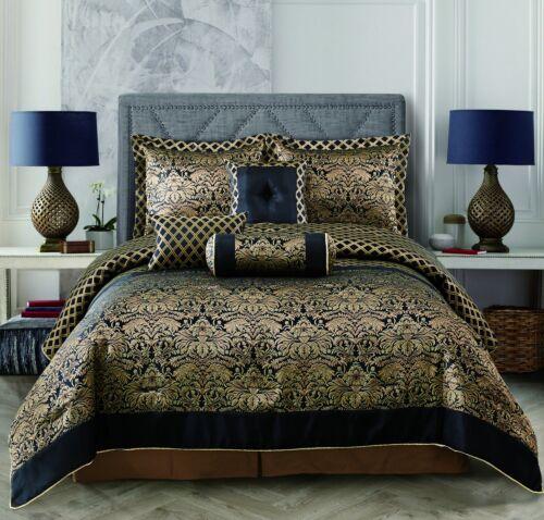 10 Piece Over Size Jacquard Comforter Sheet set Black Gold Queen Size