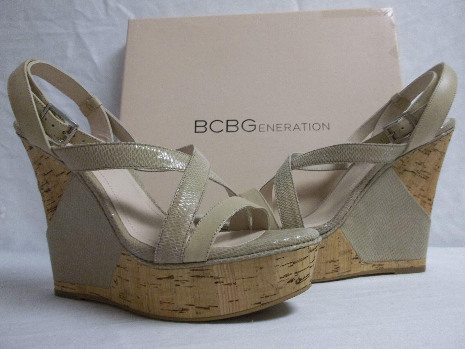 centro commerciale di moda BCBGeneration BCBG Sz 10 M Rizza Cashew Leather Open Open Open Toe Wedges New donna scarpe  le migliori marche vendono a buon mercato