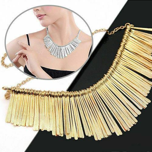 Women Fashion Jewelry Pendant Chain Crystal Choker Chunky Statement Bib Necklace