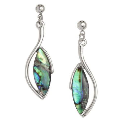 Oval Earrings Paua Abalone Shell Silver Fashion Jewellery Boxed