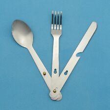 Outdoor Sport  Fork Spoon Eating Utensil Stainless Steel Camping Cutlery Set Kit