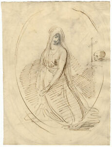 William Lock the Younger, Mary Magdalene with Skull & Cross – c.1780 ink drawing