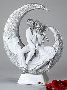 Moderne Skulptur moderne skulptur liebespaar aus keramik weiß silber höhe 32 cm ebay