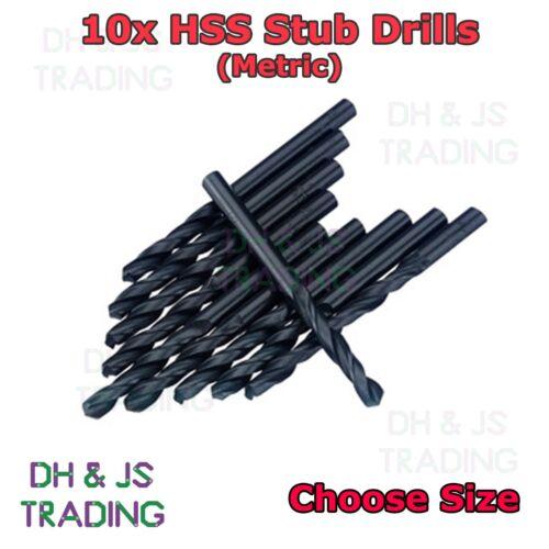 All Sizes 10 HSS Stub Drill Bits Professional Short Stubby Metric Ground Flute