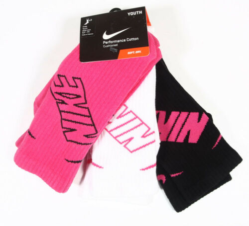 Nike Cushioned Performance Cotton Crew Socks 3 pack,Youth 10C-3Y,3Y-5Y,5Y-7Y