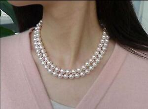 New-double-strands-8-7-mm-Akoya-white-round-pearl-necklace18-034-17-034-14K-gold-clasp