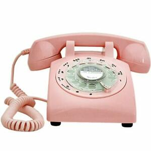 Retro-Pink-Phone-Rotary-Dial-Vintage-Telephone-Corded-Classic-Landline-Gifts