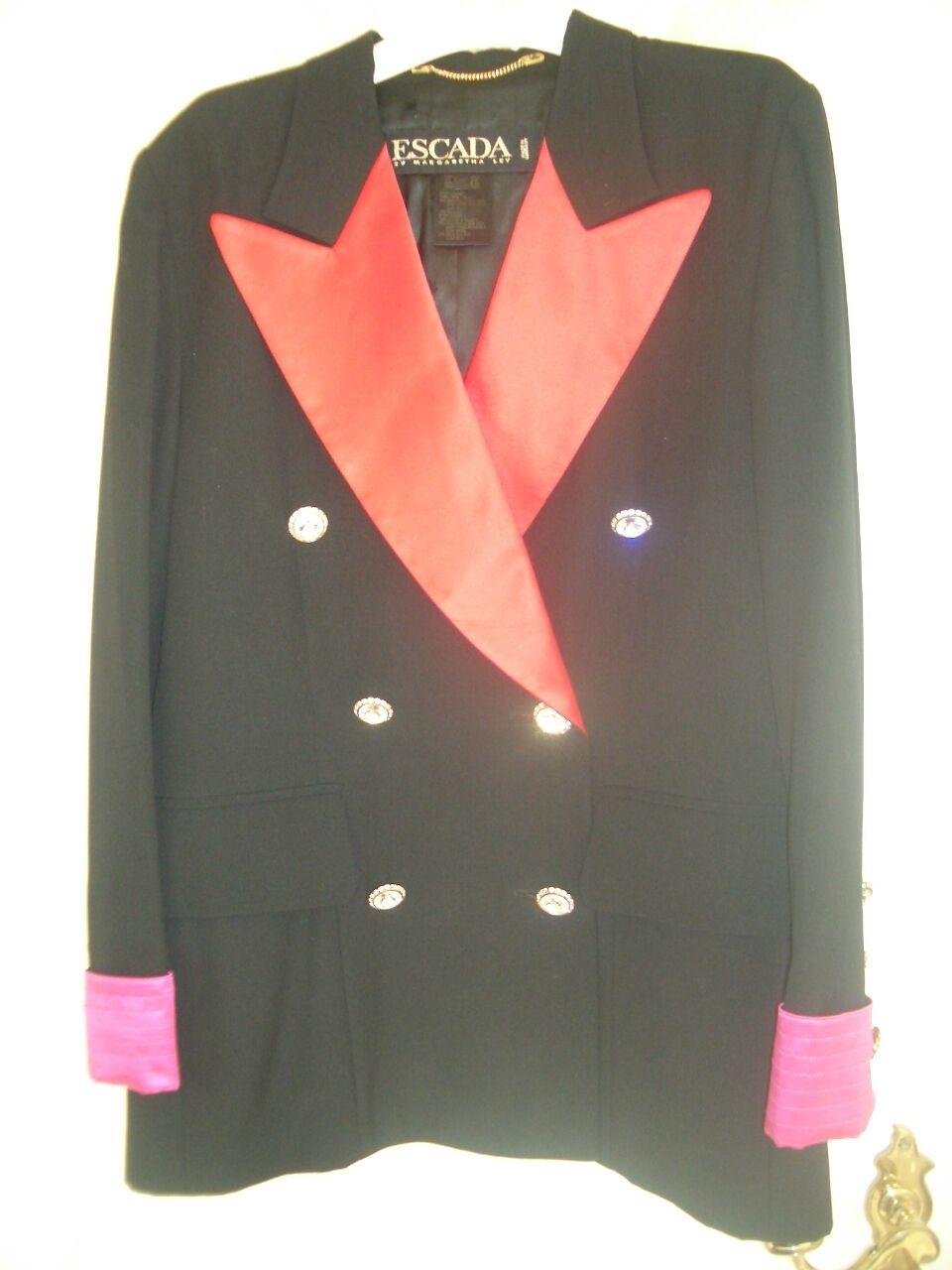 LUXUS DESIGNER ESCADA ABEND Blazer SMOKING Swarovski glitzer 38 38 38 40 pink black 1c993e