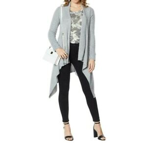 Skinnygirl-Womens-Mouj-Waterfall-Asymmetric-Open-Front-Cardigan-Gray-Medium-Size