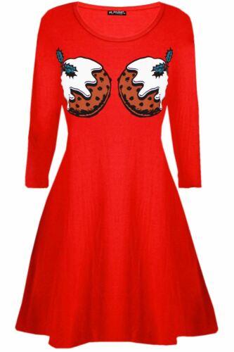 Womens Ladies  Xmas Santa Face Gifts Reindeer Flared Christmas Swing Mini Dressc