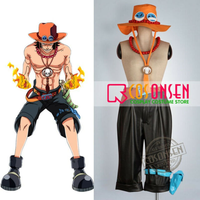 One Piece Portgas D Ace Cosplay Wooden Beads Necklace /& Cosplay Hat Cap Costume