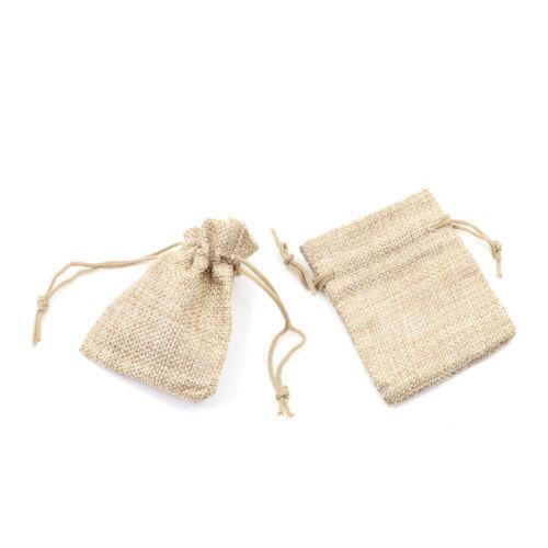 10pcs Small Burlap Jute Sack Linen Pouch Bag Drawstring Wedding Suppli TZ