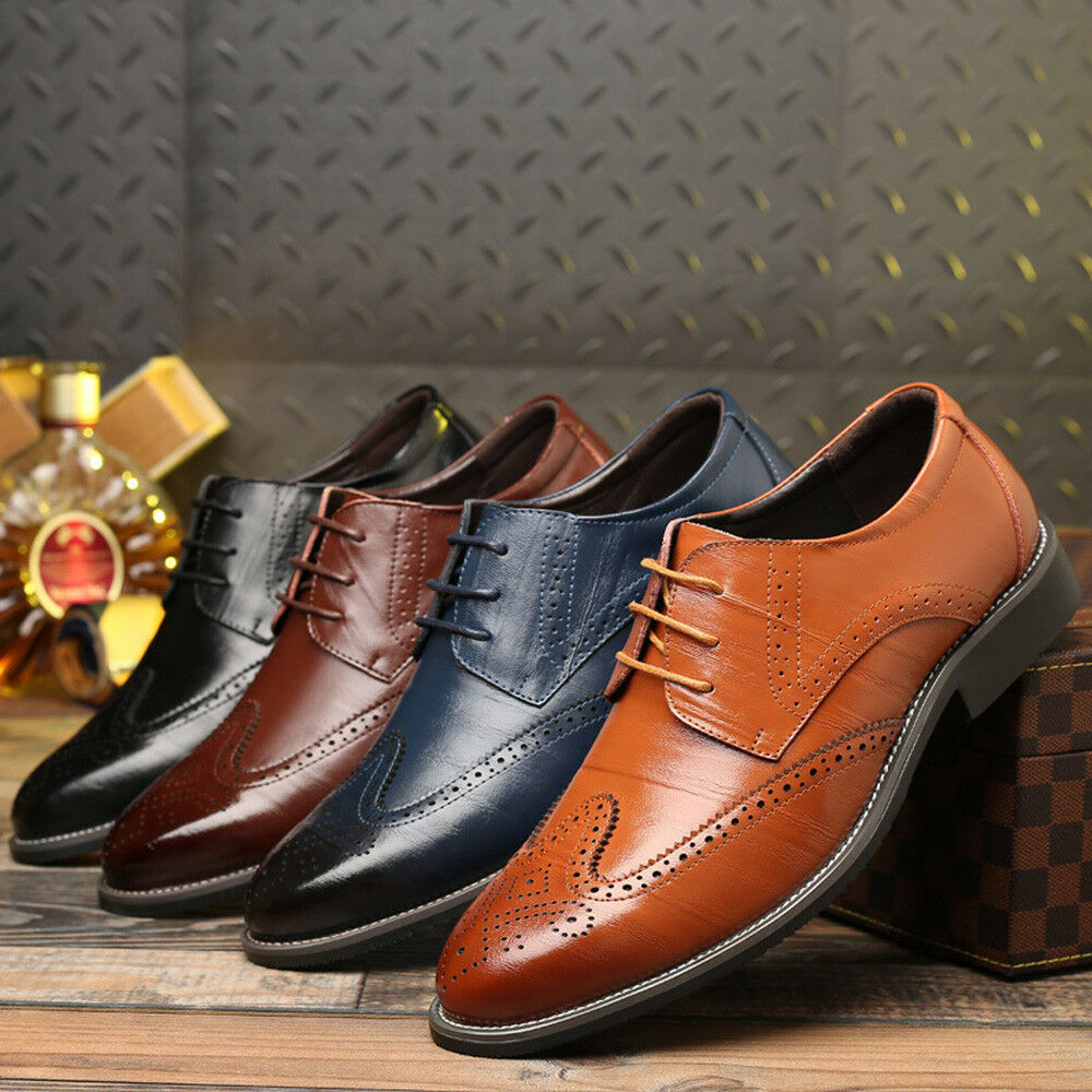Men's Brogue Leather Business Lace up Wing Tip Wedding Office shoes Formal