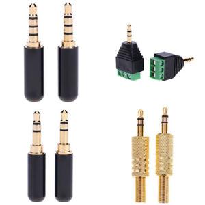 2X-1-8in-3-4-Pole-Ecouteur-DIY-Connecteur-3-5mm-Jack-Stereo-Male-Fiche-Audio