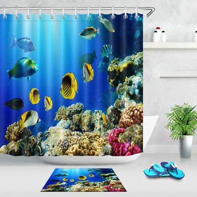 Fabric Shower Curtain Set Tropical Fish