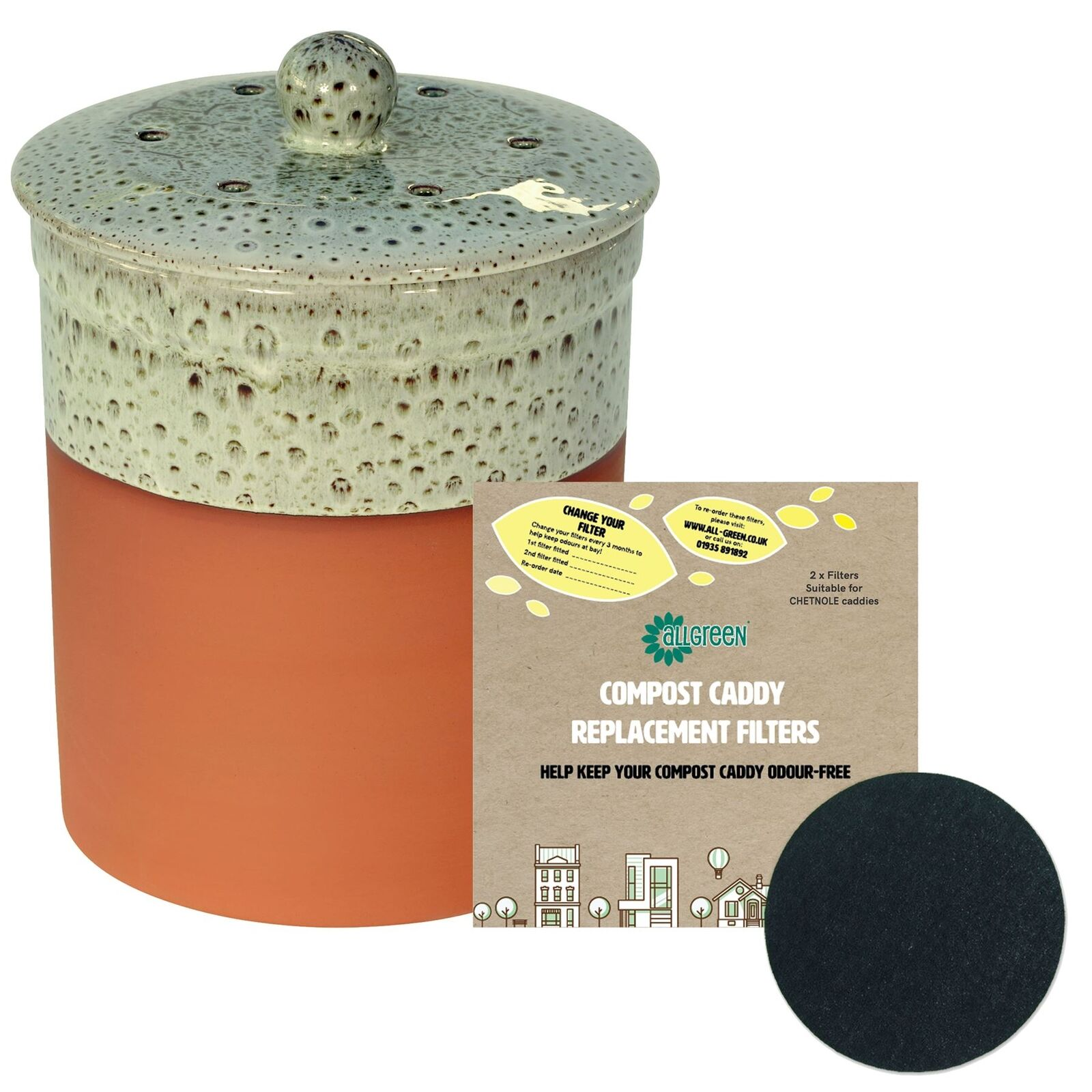 Chetnole Terracotta Caddy -Olive Grün- Ceramic Compost Bin & 2xFilters